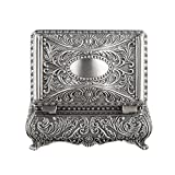 Ornate 1.875 x 2.25 x 3.5 INCH Rectangular Box Antique Finish Organizer Jewelry Decorative Ring Necklace Bracelet Amulet Silver
