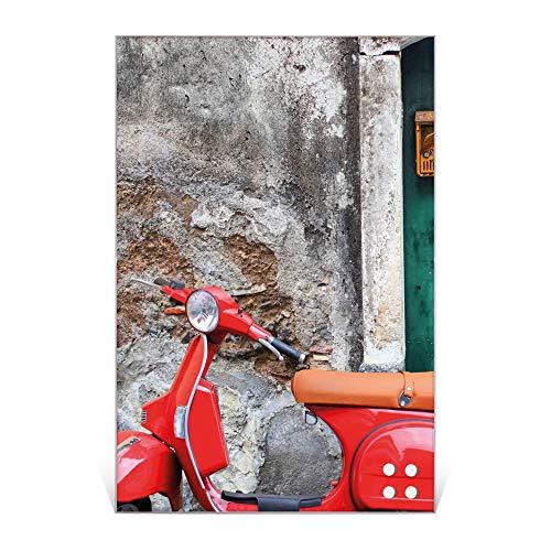BANJADO Design Glas-Magnettafel 60x90cm groß | Magnetwand mit 4 Magneten | Memoboard beschreibbar | Magnetboard mit Motiv Italienischer Roller