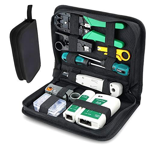 qipuneky 12 piezas, probador de cables de red, juego de herramientas de reparación de red, con herramienta de engarzado, adecuado para el hogar, el trabajo o bricolaje (aleación y plástico ABC)