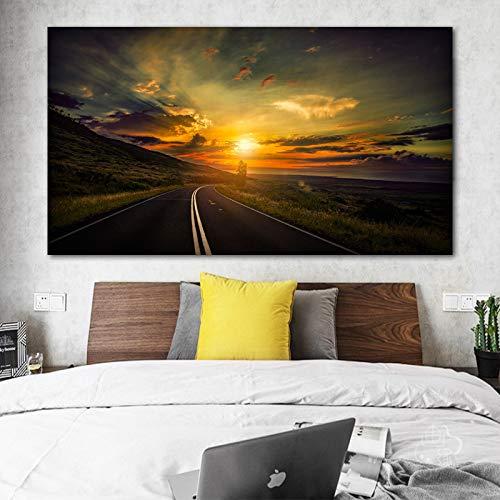 ganlanshu Rahmenlose Malerei Straßenplakate und Drucke Sonnenuntergang Landschaft Leinwand Malerei Dekoration WandkunstZGQ5302 70X126cm