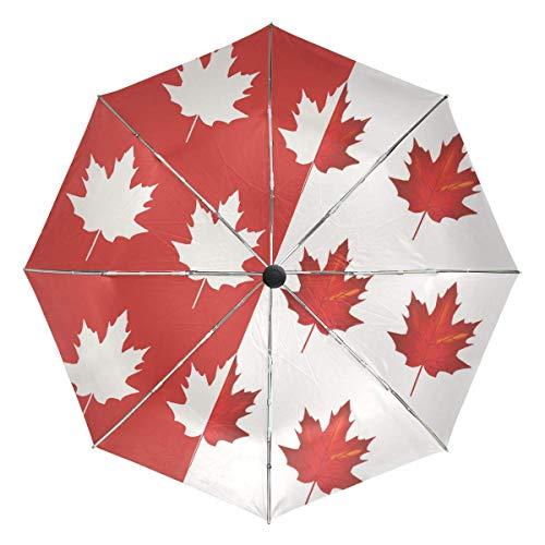 AOTISO Paraguas de Viaje, 3 Pliegues, pequeño Compacto, protección automática, Bandera Canadiense, Ligero