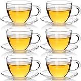 Ljfjf Tazas de té y café con platillo de café espresso vasos de café hechos de gafas de té de vidrio de borosilicato extremadamente resistentes al calor con platillo para el té, café, espresso (paquet