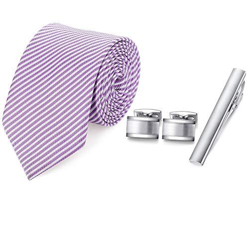 HONEY BEAR Mens Woven Silk Krawatte Krawattenklammer Manschettenknöpfe Set für Formale Business Hochzeitsgeschenk mit Box (Hell Blau)