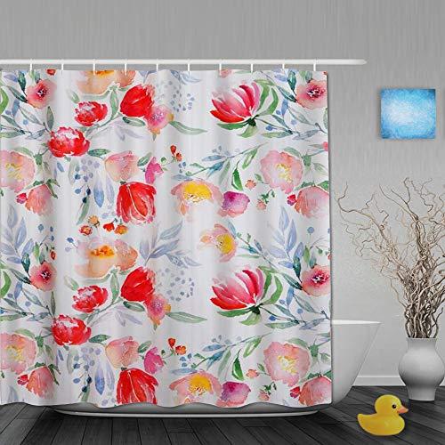 AYISTELU Duschvorhang,Blüten-Aquarell-Blumenmuster,Stoff Badezimmer Dekor Set mit Kunststoffhaken, enthalten - 180x210cm