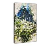 Aquarell-Ölgemälde City Machu Picchu Leinwand Poster
