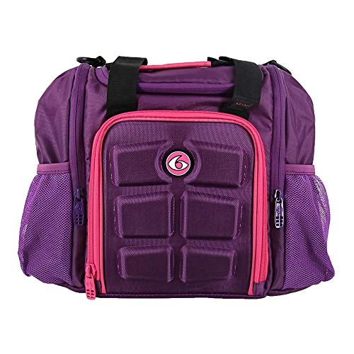 6 Pack Fitness Mini Innovator Meal Prep Management Tote 3 - Meal (Purple/Pink)