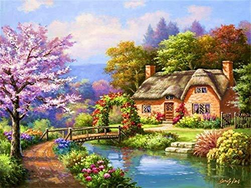 Pintura de diamante completo'Casa paisaje de flores' Taladro de resina Bordado 5D Diy Pintura de diamante Hecho a mano Punto de cruz regalo A3 50x70cm