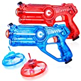 2 Laser Tag Gun Game W/ 2 Flying Toy Drones Target, Infrared Lazer Shooting Game for Kids W/ Fun LED Effects, Sounds & 4 Gun Modes & Guns Battle Best Gift Toy for 5-10 Year Old Boys Girls (Set of 2)