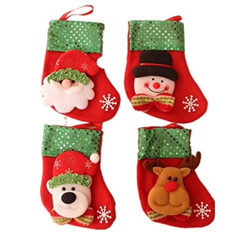 AprilElst 4PCS kerstkous Elfe Santa Snowman Bear Design Candy kerstboom geschenk tas Kerstmis