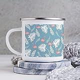 Tazza smaltata, divertente tazza da caffè, motivo: piante tropicali con fenicottero e foglie tropicali, tazza da caffè, tazza da caffè, per giorno di ringraziamento/compleanno