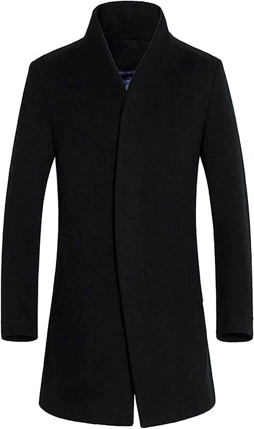 Hoolep Mens Stand Collar Slim Fit Wool Blend Long Business Coat