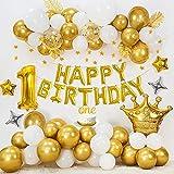 Decoración cumpleaños 1 año, globos de FELIZ CUMPLEAÑOS oro, globos de blanco oro metálico, globo de aluminio número 1, globos de estrellas, pancarta de estrellas doradas, ONE Cake Topper