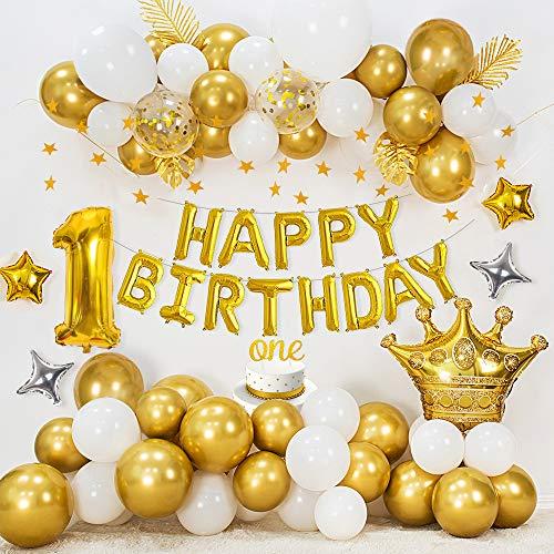 APERIL Decoración cumpleaños 1 año, Globos de Feliz CUMPLEAÑOS Oro, Globos de Blanco Oro metálico, Globo de Aluminio número 1, Globos de Estrellas, Pancarta de Estrellas Doradas, One Cake Topper