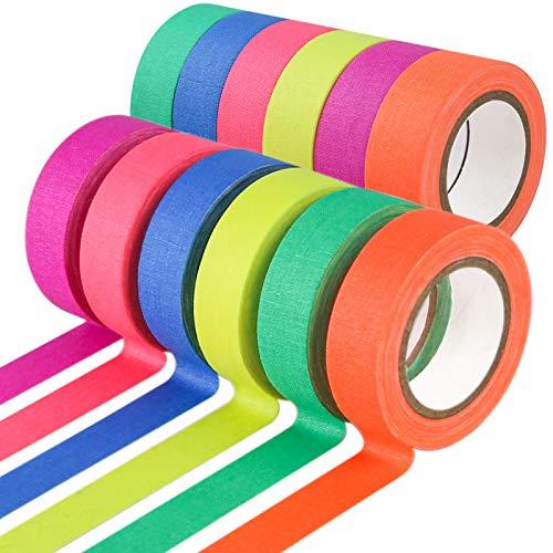 Koogel 12 Stück Neon Klebeband, 6 Farben Fluorescent Tape UV Fluoreszierendes Klebeband Neon Tape Schwarzlicht Bunte Gewebeband für Partydeko Handwerk(5m x15mm)