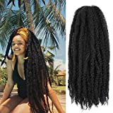 AMELI 6 Packs Marley Braiding Hair for Twists Synthetic Fiber Hair Afro Kinky Hair Marley Braid Hair Extensions (24inch, 1B) …
