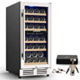 MOOSOO 15 Inch Dual Zone Wine Cooler Refrigerator Built-in or Freestanding with Fashion Look, Independent Temperature Control, 30 Bottle Wine Cellar with Triple-Layer Tempered Glass Door (black)