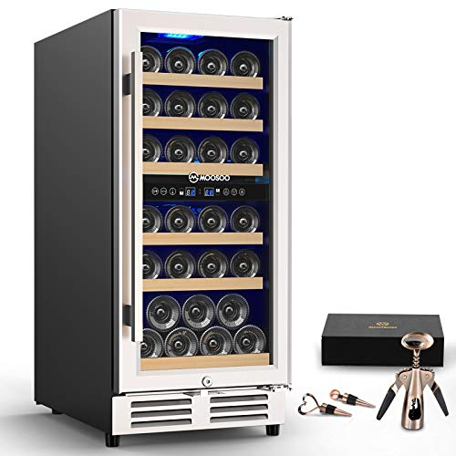 MOOSOO 15 Inch Dual Zone Wine Cooler Refrigerator Built-in or Freestanding with...