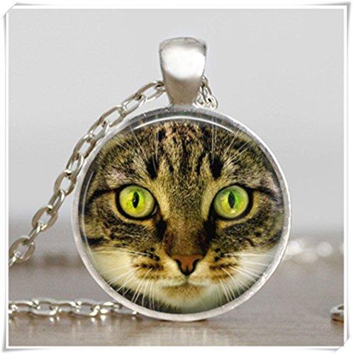 Colgante de ojos verdes de gato, collar de ojos verdes de gato