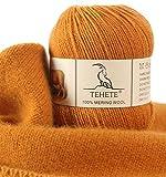 TEHETE Ovillo de lana, 100% Hilados de lana merino Hilo 50g para manta, suéter calcetín, bufanda, diy, ganchillo y tejido(Amarillo jengibre)