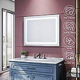 SIRHONA Miroir de Salle de Bains 900 x 700 x 35mm - Miroirs cosmétiques muraux - Miroir avec LED Illumination - Anti-buée avec éclairage LED - avec Prise Rasoir - lnterrupteur Tactile