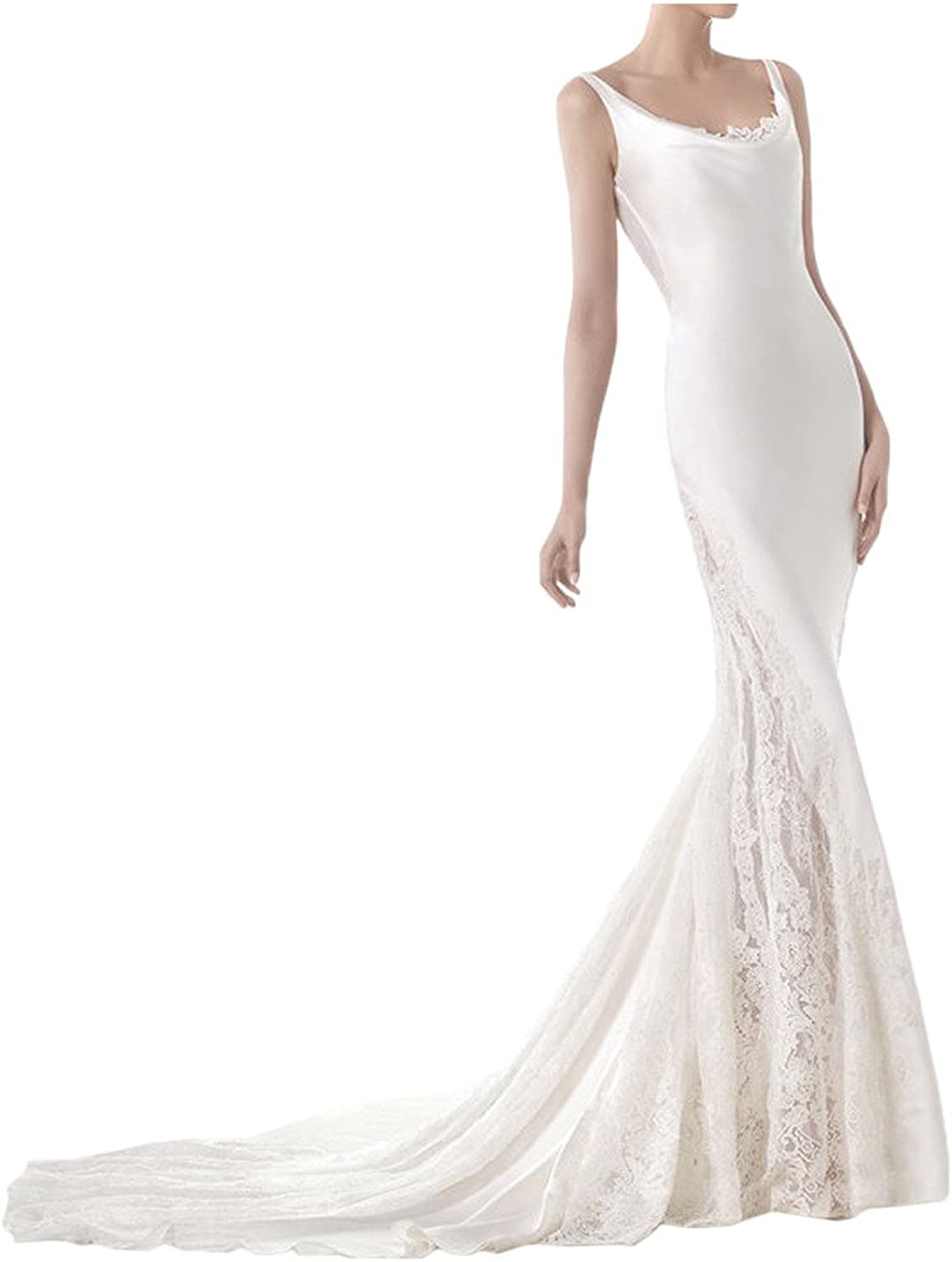 MILANO BRIDE 2016 White Wedding Dress For Bride Sheath Scoop neck Backless Lace