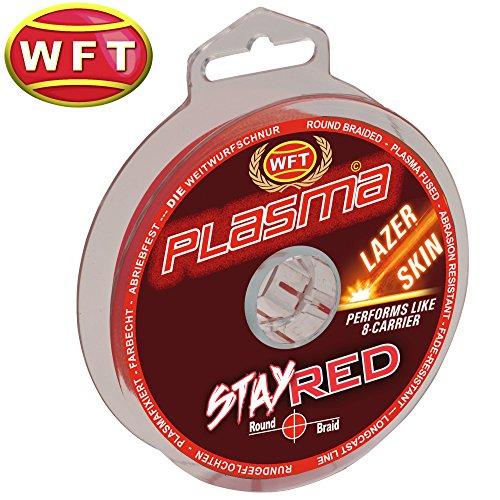 WFT Plasma Stay Red Lazer Skin 150m - Geflochtene Angelschnur zum Spinnfischen & Meeresangeln, Geflechtschnur, Schnur zum Angeln, Durchmesser/Tragkraft:0.22mm / 27kg Tragkraft