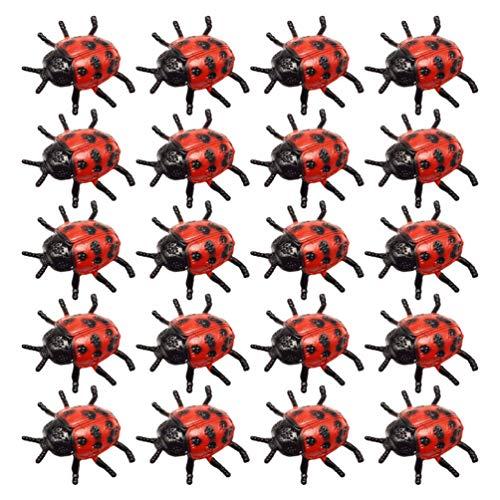Tomaibaby 25 Piezas Mini Figura de Mariquita Realista Mariquita Falsa Decoración de Jardín de Juguete Accesorios de Broma de Halloween Favores de Fiesta para Niños