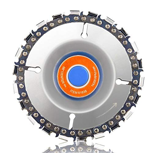 Grinder Wood Carving Disc, Abenkle Grinder Saw Disc for 4'' or 4'-1/2' Angle Grinder, Chainsaw Grinding Wheel Chain Blade Circular Plate 5/8' Arbor, Shaping and Cutting Disk with Fine 22 Teeth (100mm)
