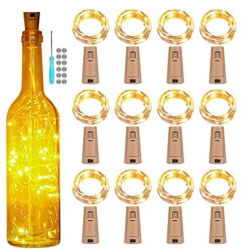 【12 Stück】25 LEDs 2.5M Flaschen Licht Warmweiß, Vivibel Flaschenlicht Weinflasche Kupferdraht Lichter LED Lichterketten für Flasche Stimmungslichter, Batteriebetriebene für Party Weihnachten DIY