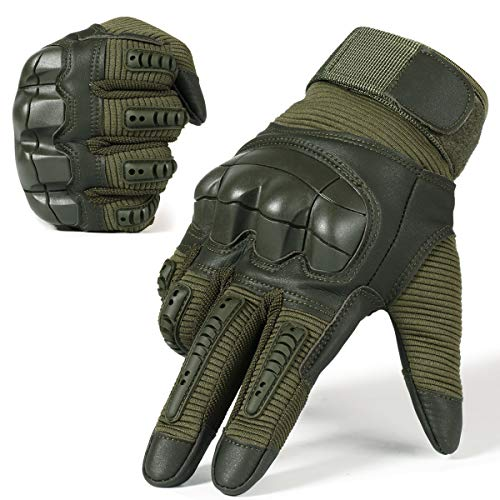WTACTFUL Army Military Tactical Touch Screen Protection Full Finger Gloves for Motorcycle Motorbike Hunting Hiking Airsoft Paintball Riding Men Women Size Green Medium