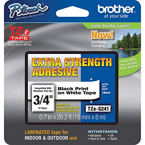 """Brother Genuine P-touch TZE-S241 Tape, 3/4"""" (0.7"""") Wide Extra-Strength Adhesive Laminated Tape, Black on White, Laminated for Indoor or Outdoor Use, Water-Resistant, 0.7"""" x 26.2' (18mm x 8M), TZES241"""
