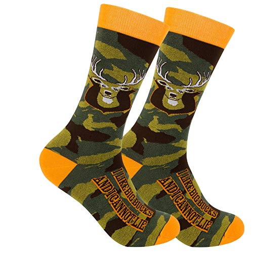 FUNATIC I Like Big Bucks And I Cannot Lie Crew Socks | Unisex Deer Hunting Gift for Men Women Adult Dad Husband Brother Uncle | Best Novelty Hunter Present | Perfect Hunt Lover Gear with Funny Message