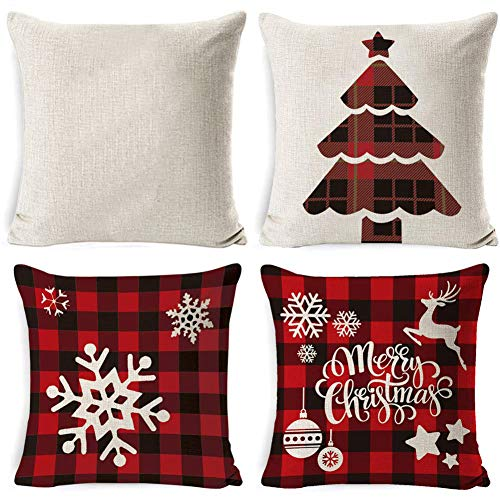 Set of 4 Merry Christmas Decorations Pillow Covers, Cotton Linen Winter Pillow Covers, Snowflakes, Trees, Elk, Throw Pillow Cases, Cushion Covers for Xmas Couch Sofa (18' x 18')