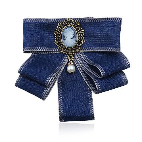 Broche Pin Joyería de las mujeres, Las mujeres perla cuelgan Pre atado en capas del Bowknot del arco broche collar ramillete Traje camisa de la joyería del partido vestido de novia de la corbata Regal