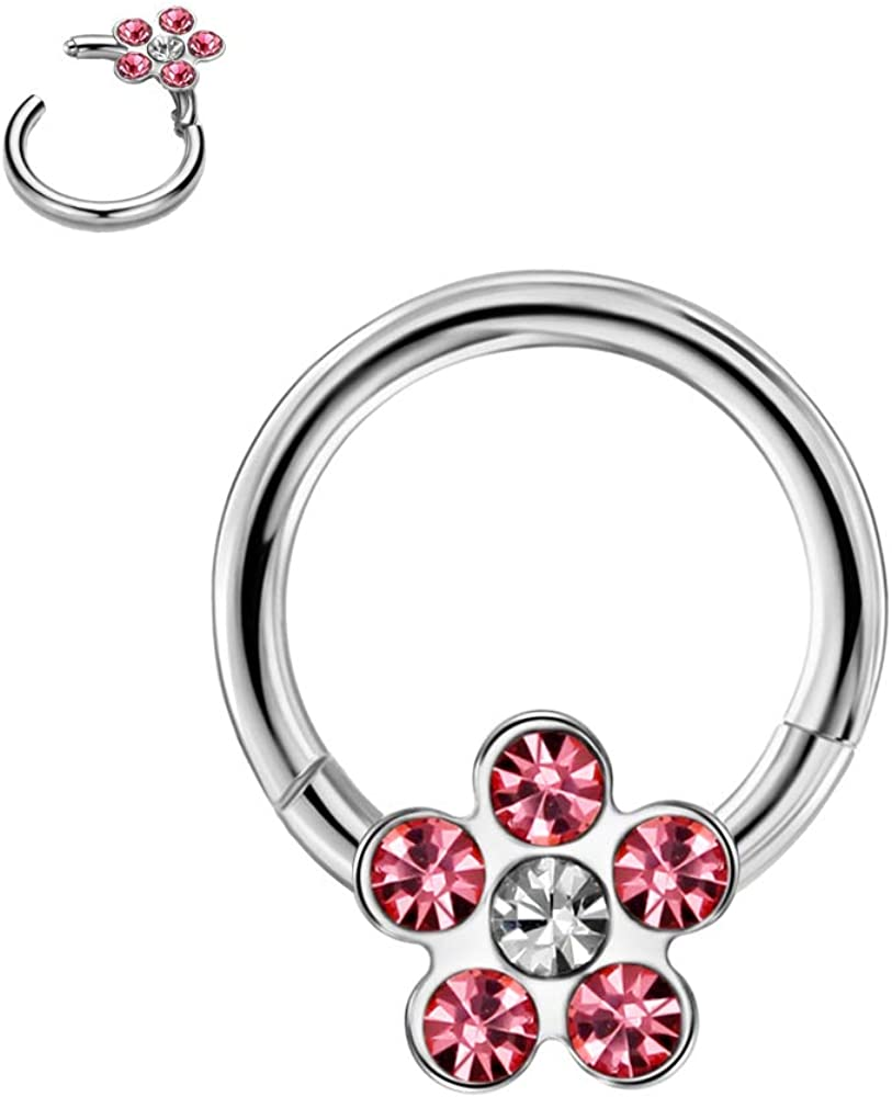 FANSING 316L Surgical Steel Hinged Seamless Flower Captive Bead Clicker 16 Gauge 8mm Septum Jewelry Daith Earrings