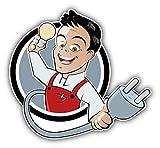 JJH Inc Electrician Funny Cartoon Guy Vinyl Decal Sticker Waterproof Car Decal Bumper Sticker 5'