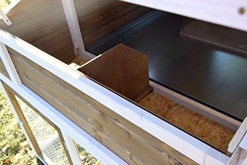 dobar 23033FSC Großer dekorativer Hühnerstall oder Kleintierstall XL mit Freigehege, Pflanzkasten und Legebox, 126 x 128 x 143 cm, weiß-braun-schwarz - 8