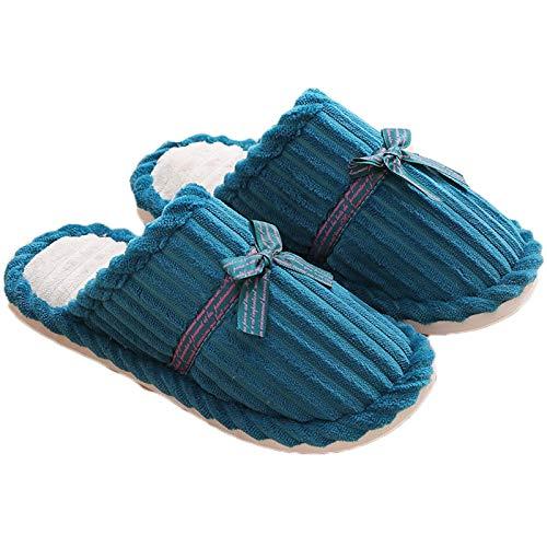 Zapatillas para Hombre para Hombre Zapatillas de Invierno Comodidad de Invierno Plush Alineado Antideslizante Zapatillas de algodón para Exteriores al Aire Libre, Azul Claro, 38/39 TINGG