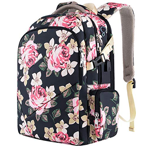 VSNOON Travel Laptop Backpack,TSA Friendly Anti Theft Business Laptop Backpack with USB Charging Port, Water Resistant College School Computer Bag for Women & Men Fits 15.6 Inch Laptop - Flower