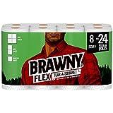 Brawny Flex Paper Towels, 8 Triple Rolls = 24 Regular Rolls, Tear-A-Square, 3 Sheet Size Options, Quarter Size Sheets
