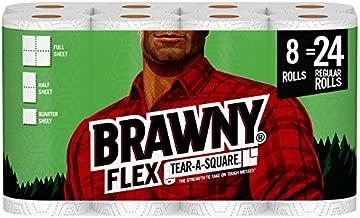 Brawny Flex Paper Towels, 8 Triple Rolls = 24 Regular Rolls, Tear-A-Square, 3 Sheet Size Options, Quarter Size Sheets, 8 Count