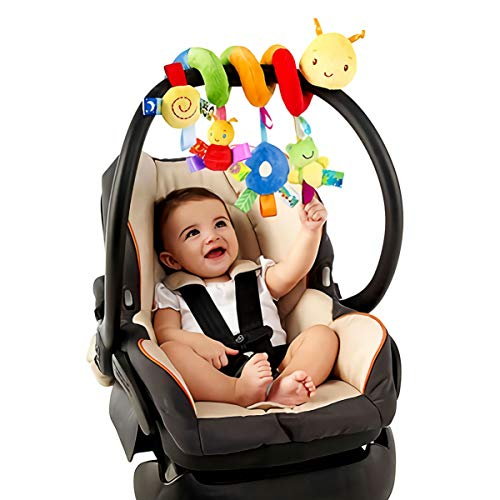 OSALADI Crib Spiral Toy Spiral Activity Hanging Stroller toys Car Seat Pram Toy with Ringing Bell Baby Soft Plush Toys for Infant Babies Toddler