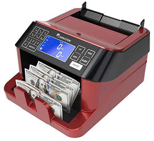CARNATION USA Cash Counter with Counterfeit Bill Detection - UV, Infrared, Magnetic, Metallic Thread, and Size Detection