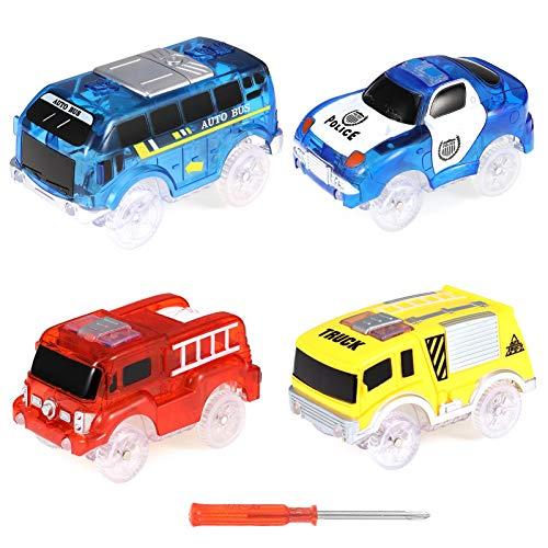 RosewineC Spielzeugauto Set ab 3 Jahren 4er Pack Set Auto Track Cars Spielzeug für Kinder Leuchten Spielzeugautos 5 LED-Blinklichtern Rennauto Leuchtender Elektrischer Eisenbahnwagen
