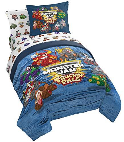 Monster Jam Truckin Palz 5 Piece Twin Bed Set - Includes Comforter & Sheet Set - Bedding Features Grave Digger & Megalodon - Super Soft Fade Resistant Microfiber (Official Monster Jam Product)