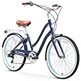 sixthreezero EVRYjourney Steel Women's Hybrid Bike with Rear Rack, 26 Inches, 7-Speed, Navy, Navy...