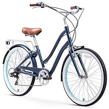 sixthreezero EVRYjourney Steel Women s Hybrid Bike with Rear Rack 26 Inches 7-Speed Navy Navy w/Brown Seat/Grips
