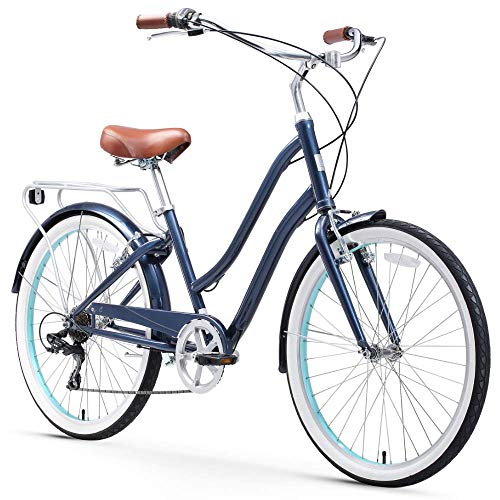 sixthreezero EVRYjourney Steel Women's Hybrid Bike with Rear Rack, 26 Inches, 7-Speed, Navy