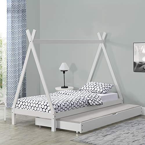 [en.casa] Kinderbett mit Ausziehbett 90x200cm Tipi Indianer Bett Kojenbett Gästebett Weiß Hausbett Kinder Haus