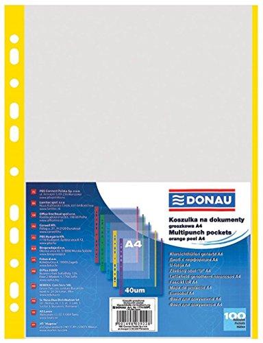 DONAU 1774100PL-11 Prospekthüllen Genarbt Gelber Rand Oben Offen Klarsichthüllen Sicht-Hüllen Gelochte Plastikhülle für Dokumente Papiere Akten Ordner/ PP Din A4, Transparent 40 mikron/ µm, 100stk.